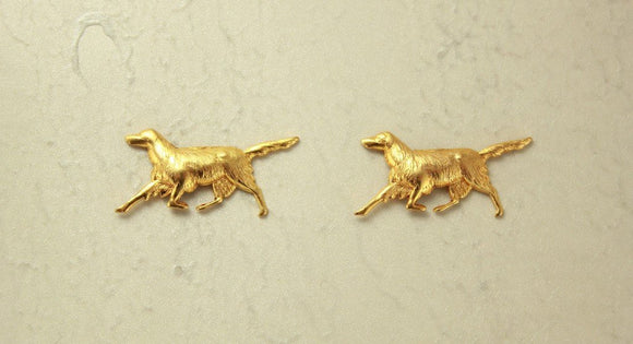 Dog Magnetic Clip Non Pierced Earrings 14 Karat Gold Plated  Brass - Laura Wilson Gallery