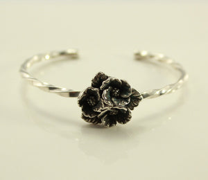 Vintage Sterling Silver Cuff Bracelet With Flowers no 4 - Laura Wilson Gallery