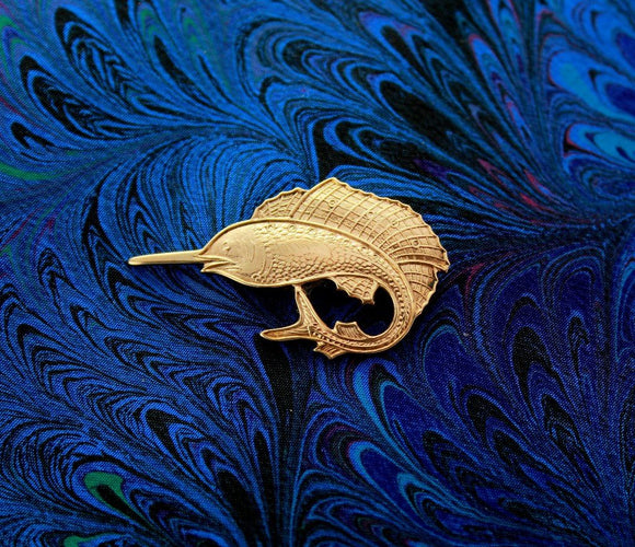 14 Karat Gold Plated Magnetic Swordfish Tie Pin Clip or Tack