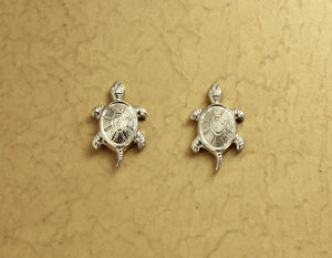 Silver Turtle Magnetic or Pierced Earrings - Laura Wilson Gallery