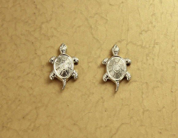 Silver Turtle Magnetic Clip Earrings