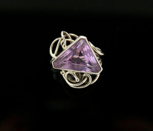Faceted Amethyst and Sterling Silver Wire Ring
