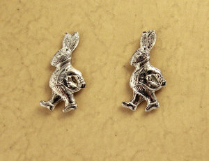 Alice in Wonderland Rabbit or Easter Bunny Magnetic Clip Non Pierced Earrings - Laura Wilson Gallery
