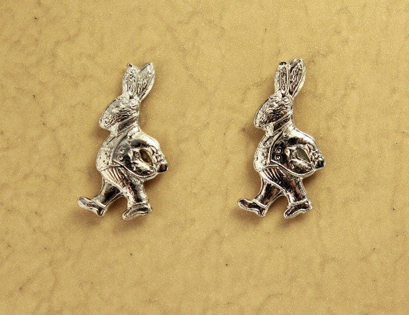 Alice in Wonderland Rabbit or Easter Bunny Magnetic Clip Non Pierced Earrings