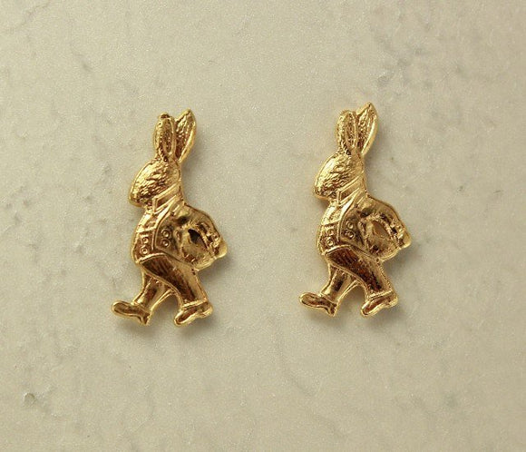Alice in Wonderland Easter Bunny Rabbit Magnetic Clip Non Pierced Earrings - Laura Wilson Gallery