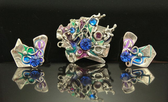 OOAK Sterling Silver Swarovski Crystal Brooch or Pendant and Earring Set - Laura Wilson Gallery