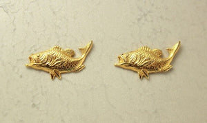 14 Karat Gold Plated Fish Magnetic Clip Non Pierced Earrings - Laura Wilson Gallery