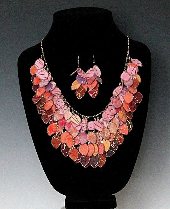 Sunset Fabric Statement Hand Painted Batik Fabric Necklace - Laura Wilson Gallery