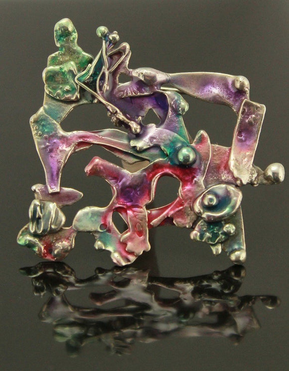 Underwater Fantasy Fused Sterling Silver Brooch or Necklace