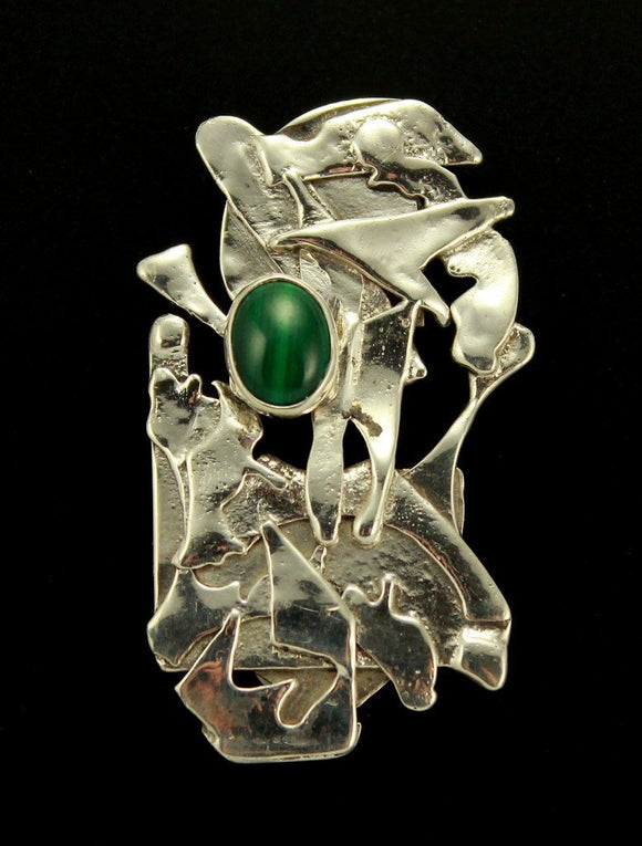 Handmade Modern Art Malachite and Sterling Silver Magnetic Scarf Pin Brooch - Laura Wilson Gallery