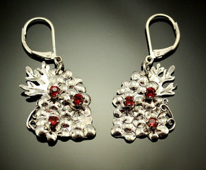 Handmade One of a Kind Grape Cluster Earrings With Garnets - Laura Wilson Gallery