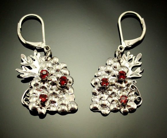 Handmade One of a Kind Grape Cluster Earrings With Garnets
