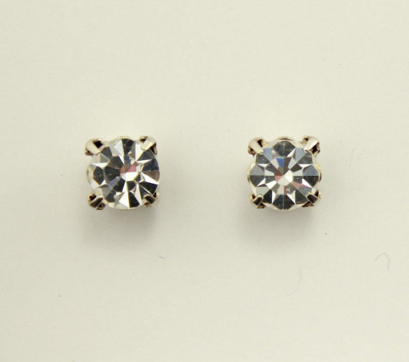 7 mm Round Diamond Look Swarovski Crystal Magnetic Earrings in a Square Setting - Laura Wilson Gallery