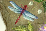 "Original Acrylic Dragonfly and Passion Flower Painting ""Serenity"" on New York Slate - Laura Wilson Gallery"