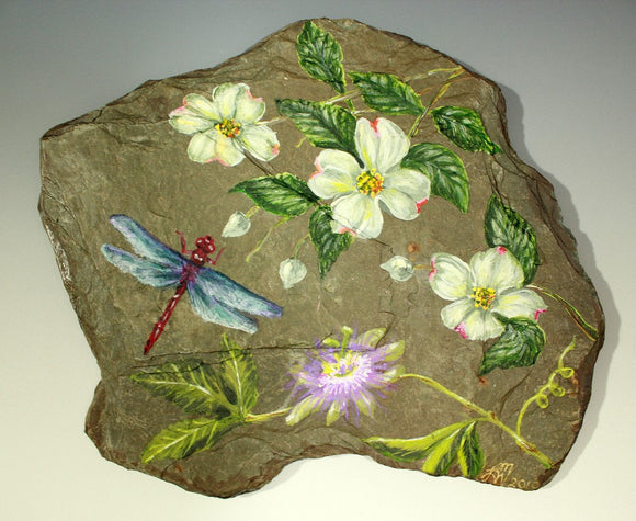 Original Acrylic Dragonfly and Passion Flower Painting