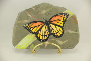 Original Acrylic Painting Viceroy Butterfly on Granville, New York Slate - Laura Wilson Gallery