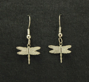 Silver Dragonfly Dangle Pierced Earrings - Laura Wilson Gallery