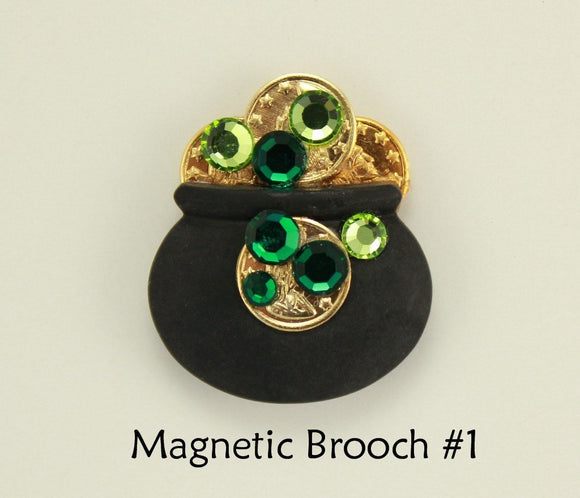 Handmade Pot of Gold Magnetic Non Piercing Brooch - Laura Wilson Gallery