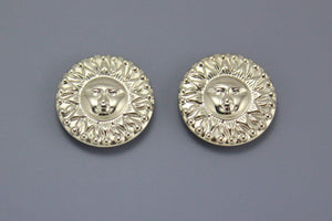 Silver or Gold Sun Face Embossed Magnetic or Pierced Earrings - Laura Wilson Gallery
