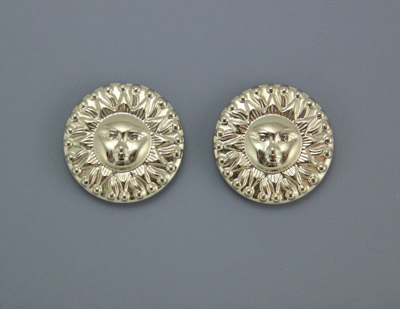 Silver or Gold Sun Face Embossed Magnetic Earrings