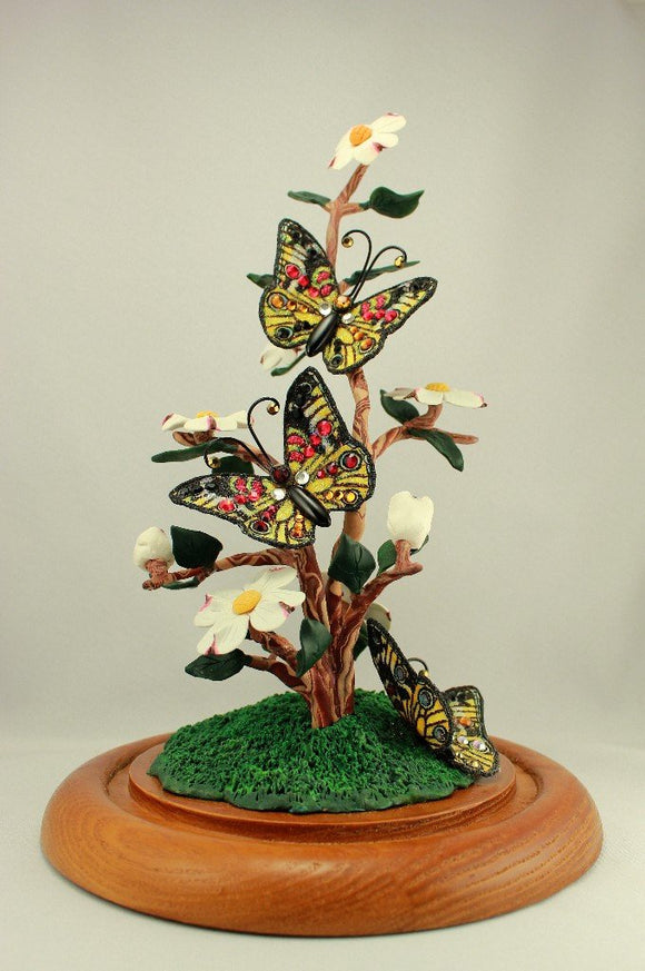 Dogwood Flower and Fabric Butterfly Polymer Clay Sculpture with Glass Dome Display - Laura Wilson Gallery