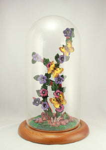 Purple and Pink Flower Yellow Butterfly Polymer Clay Sculpture with Glass Dome Display - Laura Wilson Gallery