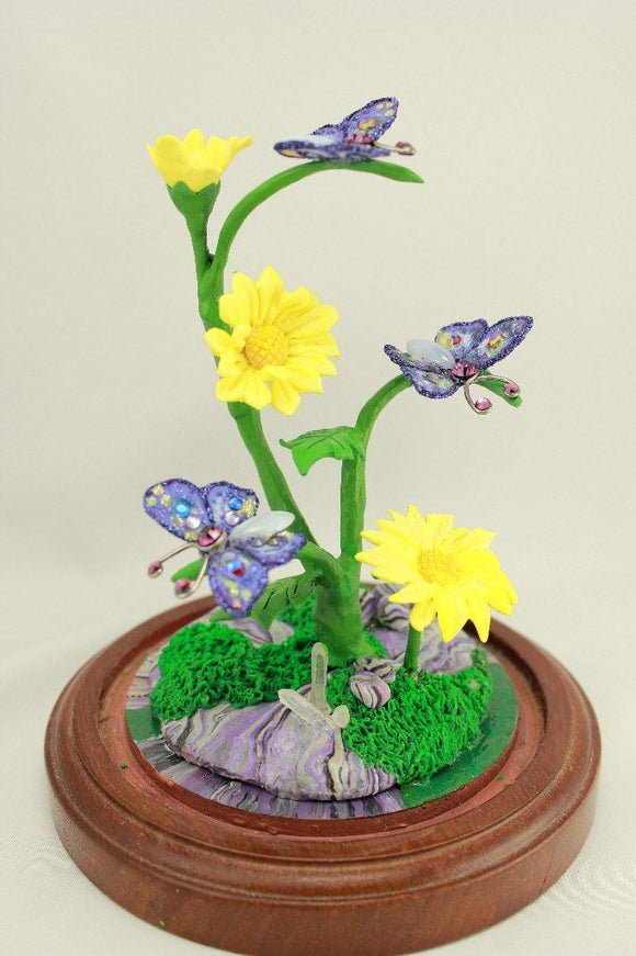 Handmade Polymer Clay Purple Butterfly and Yellow Daisy Sculpture with Glass Dome Display - Laura Wilson Gallery