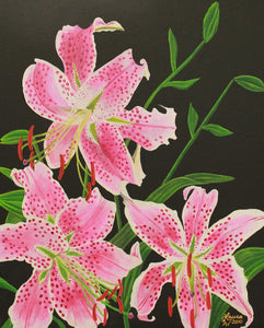 Stargazer Lily Original Acrylic Painting on Stretched Canvas - Laura Wilson Gallery