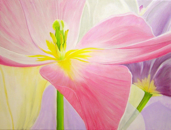 Pink Tulip Original Acrylic Painting on Canvas - Laura Wilson Gallery
