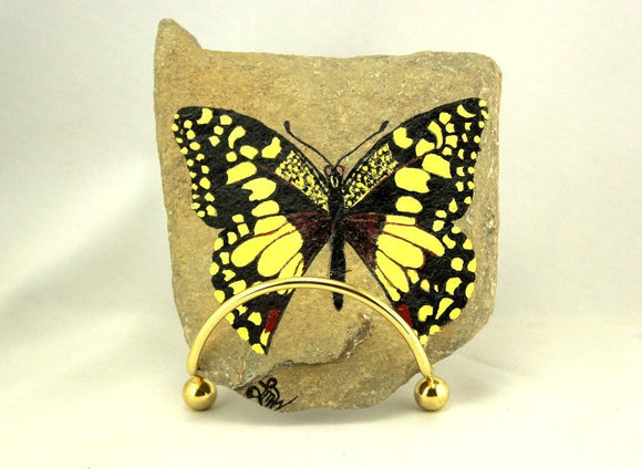 Original Painted Checkered Swallowtail Butterfly on Ohio River Rock - Laura Wilson Gallery