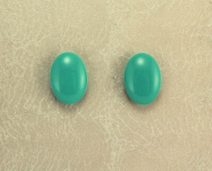 Turquoise Glass  Low Dome Oval Magnetic or Pierced Earring - Laura Wilson Gallery