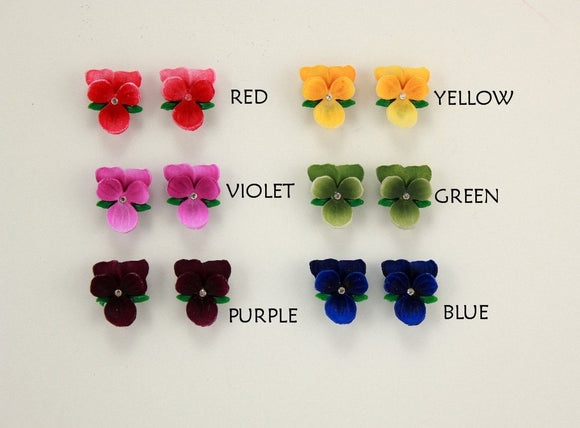 Tiny Magnetic Non Pierced or Pierced Violet Flower Earrings in 6 colors