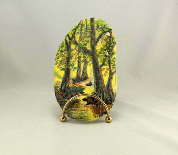 Original Hand Painted Rock Forest Brook - Laura Wilson Gallery