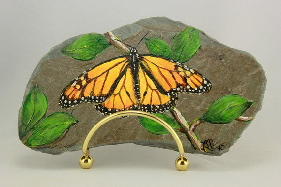 Original Monarch Butterfly Acrylic Painting on Granville New York Slate - Laura Wilson Gallery