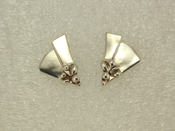 One of a Kind Handmade Fused Sterling Silver Triangle Pierced Earrings