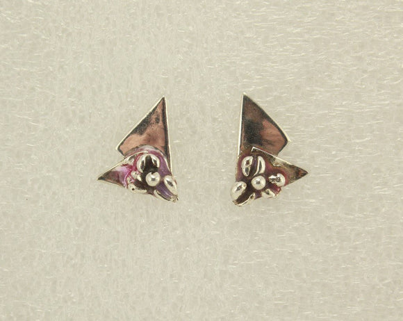 Handmade Sterling Silver Triangle Pierced Earrings