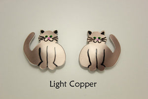 Custom Handmade Non Pierced Magnetic Clip On Or Pierced Fat Cat Earrings - Laura Wilson Gallery