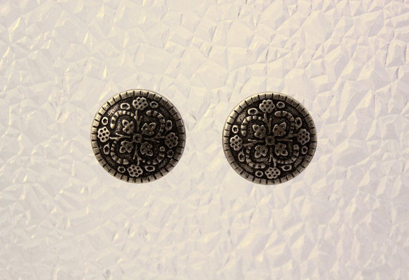Antique Silver Button Magnetic Non Pierced Clip Earrings