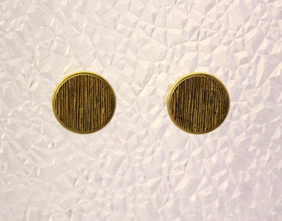Gold Striped Button Magnetic Non Pierced Clip Earrings - Laura Wilson Gallery
