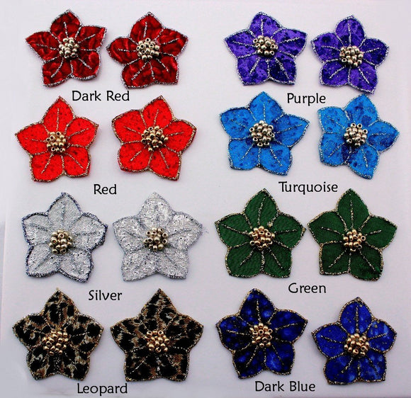 Handmade Made Fabric Flower Non Pierced Magnetic Clip or Pierced Earrings
