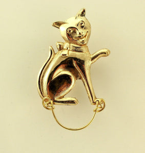 14 Karat Gold PlatedHandmade Cute Smiling Cat Magnetic Eyeglass Holder - Laura Wilson Gallery
