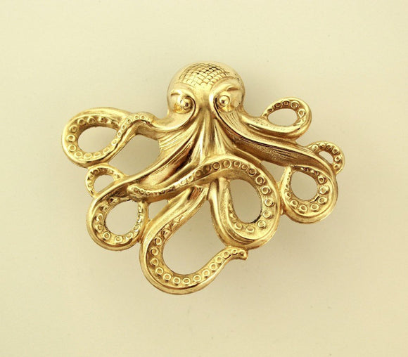14 Karat Gold Plated Brass Octopus Magnetic Eyeglass Holder or Brooch - Laura Wilson Gallery