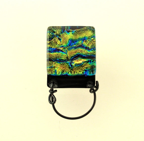Handmade Dichroic Glass Magnetic Eyeglass Holder OOAK Original Design Free Extra Magnet Back - Laura Wilson Gallery