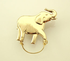 14Karat Gold Plated Magnetic Eyeglass Holder Gold Walking Elephant - Laura Wilson Gallery