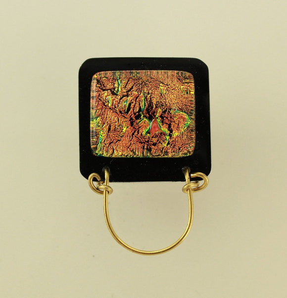 Magnetic Eyeglass Holder Handmade Dichroic Glass With Free Extra Back - Laura Wilson Gallery