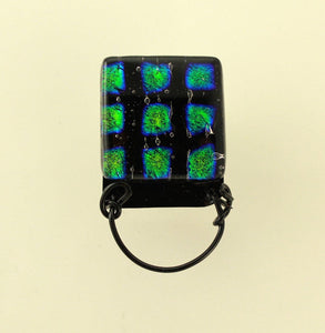 Handmade Dichroic Glass Magnetic Eyeglass Holder With Free Extra Back - Laura Wilson Gallery