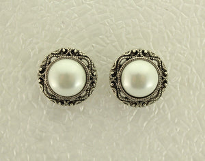 22 mm Magnetic Antique Style Pearl Button Earrings - Laura Wilson Gallery
