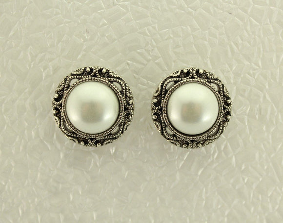 22 mm Magnetic Antique Style Pearl Button Earrings