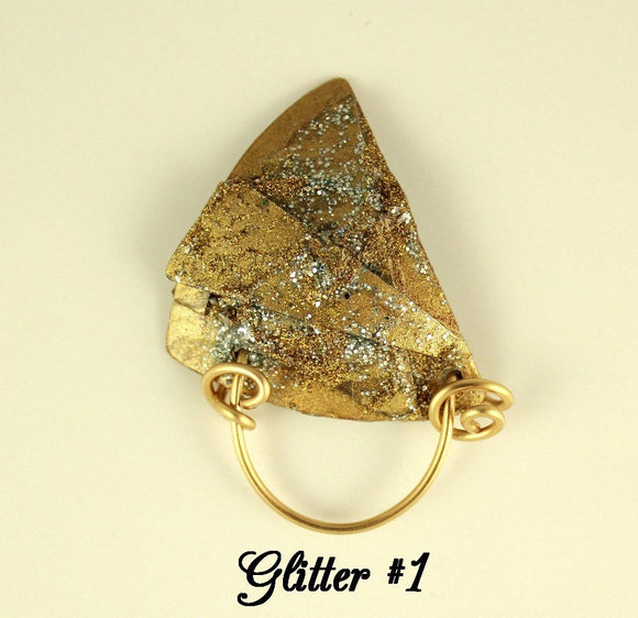 Hand Painted Gold and Silver Abstract Art Triangle Magnetic Eyeglass Holder - Laura Wilson Gallery