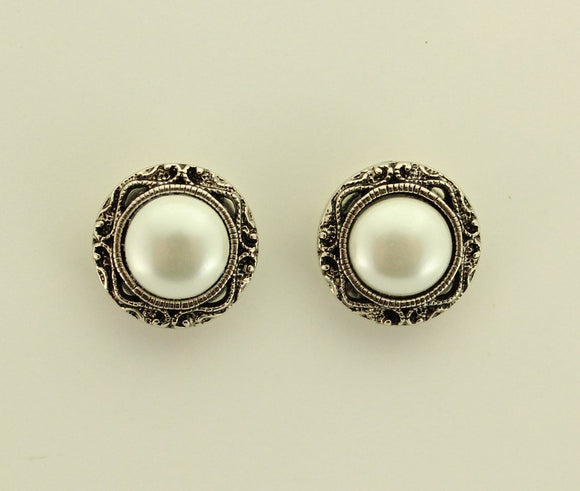 15 mm Magnetic Antique Style Pearl Filigree or Pierced Earrings